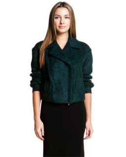Diane Von Furstenberg Green Black Alpaca Wool Margee Short Jacket 8 $