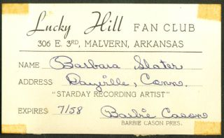Country Star Lucky Hill Fan Club Membership Card 1958