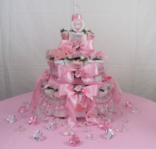Tier Baby Diaper Cake w Free Diaper Bag Gift Set Centerpiece