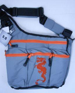 DIAPER DUDE Diaper Bag for Dad Messenger Grey Orange Dragon 400D