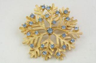 Costume Jewelry Figural Blue Rhinestone DODDS Snowflake Brooch Pin
