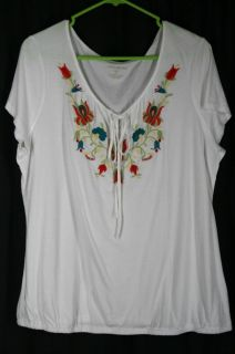 Eddie Bauer Womens XL Peasant Top White Embroidered Flowers Cotton