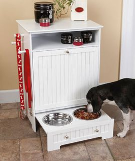 Wood Dog Cat Food Storage Cabinet Feeding Station Pull Out Raised Food