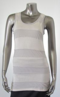 Design History New Beige Womens Tank Top Size Small Striped Fringe