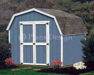 8 x 8 Barn Gambrel Style Garden Backyard Shed Plans