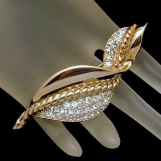 Craft Designer Vintage Extra Large Curved Leaf Rhinestones Brooch Pin