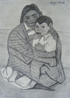 Diego Rivera original graphite signed w COA picasso miro frida kahlo