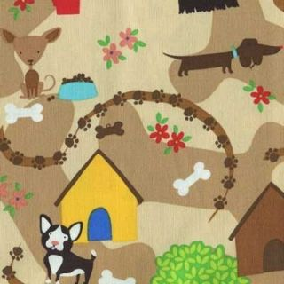 Dogs Doghouses Paws Bones Tan Brown Cotton Fabric BTY for Quilting