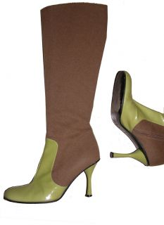 Dolce and Gabbana D G Leather Green Brown Boots 35 580 UK 2 US5