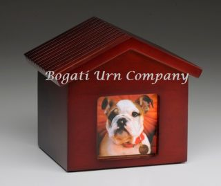 Dog House Photo Frame Wooden Cremation Urn Birch Cherry