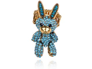 Marine Blue Crystal Rhinestone Velveteen Bunny Rabbit Doll Ring