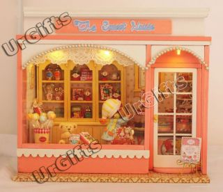 Dollhouse Miniature DIY Kit w Light Love Story Sweet Candy House Store