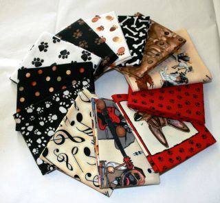 Puppy Dogs Paws Pet Prints Craft Quilt Fabric Fat Eighth 1 8 Bundle