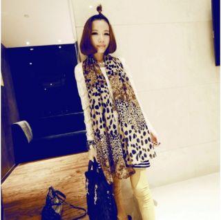 New Leopard Lovely Deer Printed Fall Scarf Long Silk Blend Chiffon