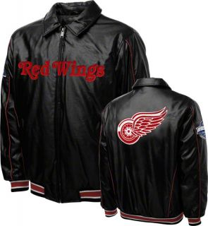 Detroit Red Wings Faux Leather Full Zip Varsity Jacket