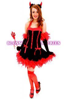 G54 Devil Red Ladies Vixen Fancy Dress Halloween Costume Outfit Horns