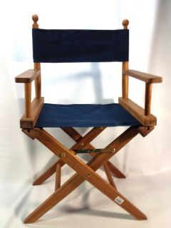 Seateak Oiled Finish Directors Chair with Seat Cover Blue