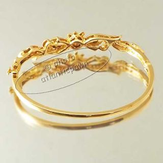 14K YELLOW GOLD BLACK ENAMEL 0.50 CT DIAMOND BANGLE BRACELET