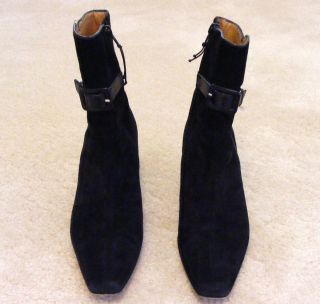Donald J Pliner Black Suede Side Zip Ankle Boots 7M