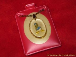 1978 Walt Disney Donald Duck Necklace and Lucite Encased Charm on Orig