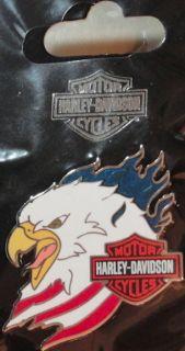 Harley Davidson Motorcycles USA Eagle Head R w B Flame Pin New on Card