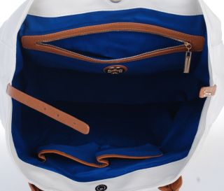 New Tory Burch Canvas Small Tote Bag Whte Blue Sales
