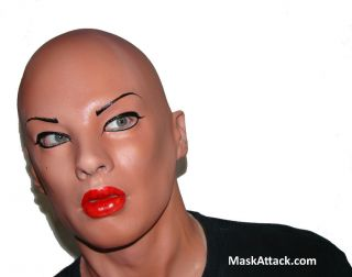 LATEX FEMALE LADY REALISTIC DISGUISE WOMAN FANCY CROSS DRESS FILM FACE