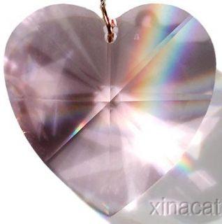 28mm 1 1/8 inch Rose HEART Shaped Swarovski Austrian CRYSTAL Prism
