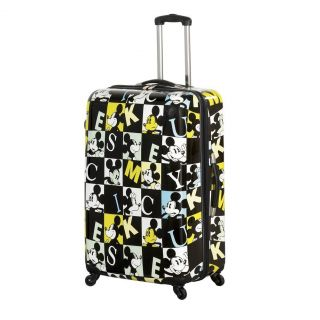 NWT HEYS 26 DISNEY MICKEY MOUSE SQUARES HARD SHELL SPINNER SUITCASE