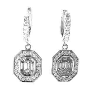 Lavish 14k White Gold Diamond Drop Earrings