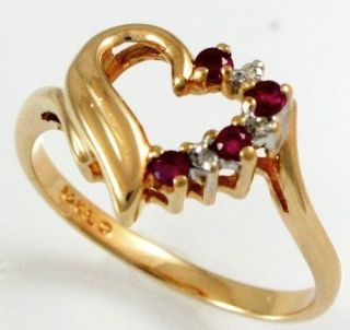 08 Carattw 4 Round Ruby 03 Carattw 4 Round Diamond Heart Ring