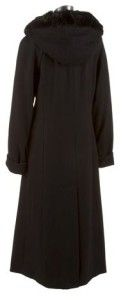 New Womens Donnybrook Long Wool Blend Faux Fur Trim Hooded Coat Jacket