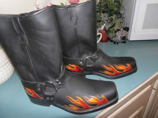 Double H Black Leather Harness Boots Size 14 EE FLAME Design Limited