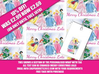 Wrapping Paper Tags Disney Princesses Christmas Xmas Gift Wrap