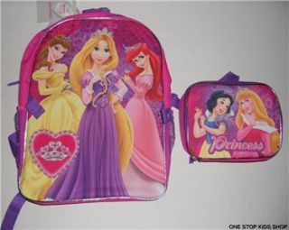DISNEY PRINCESS School Bag BACKPACK & LUNCH BOX Tote Pouch SNOW WHITE