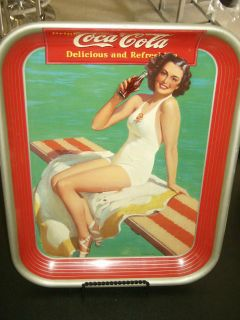 Vintage Collectible 1950s Coca Cola Metal Tray Red Hair Girl