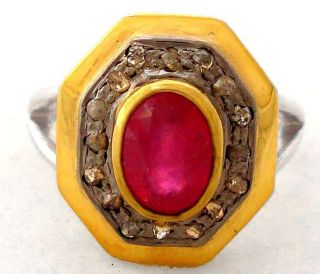 MAGNIFICENT RUBY REAL DIAMOND GOLD 925 STERLING SILVER RING Sz 8 A1491