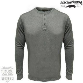 Jack Jones Vintage Rugged Grandad Long Sleeve T Shirt in Grey Sizes s
