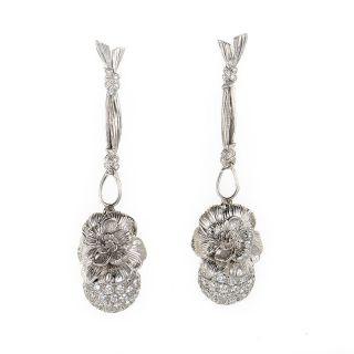 Carrera y Carrera Gardenia 18K White Gold Earrings with Diamonds
