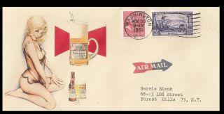 Facsimile of 1950s Budweiser Pinup Girl Illustrated Envelope