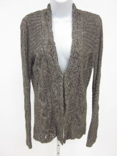 DKNY Jeans Brown White Cable Knit Cardigan Sweater Sz L