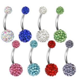 Double Gem Paved Crystal Balls Belly Navel Ring Button Piercing