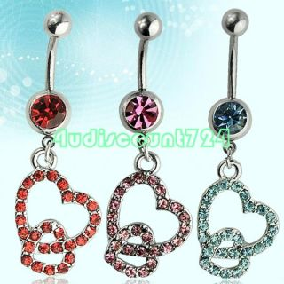 Steel Rhinestones Double Heart Pendant Belly Navel Ring Stud