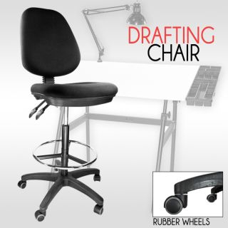 Office Drafting Black Clerk Bank Chair Adjustable Back Footrest