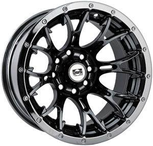 Douglas Wheel Diablo 12x7 2 5 Offset 4 110 115 Bolt Black Chrome ATV