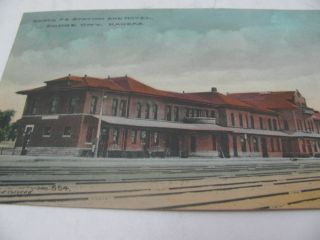 SANTA FE STATION AND HOTEL DODGE CITY KANSAS VINTAGE POSTCARD TRAIN