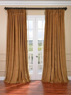 Gold Double Wide Velvet Blackout Pole Pocket Curtains Drapes