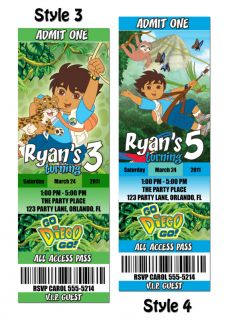 custom go diego go birthday party invitation ticket