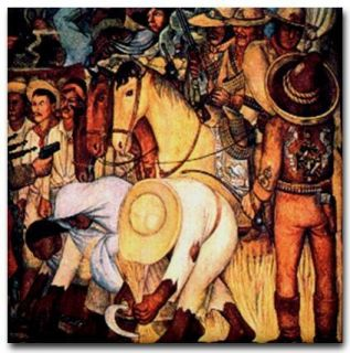 Diego Rivera Mural Ceramic Art Tile Opressed Peasants