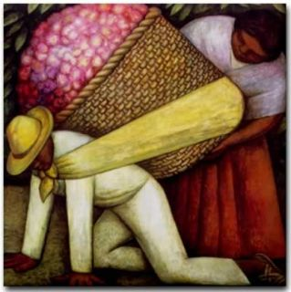 features a reproduction of a painting by Mexican artist Diego Rivera